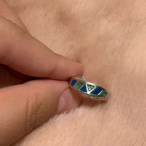 Silver green and blue ring